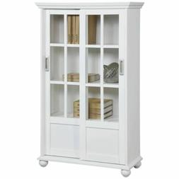 White Barrister Glass Door Bookcase Bookshelf Wooden Cabinet