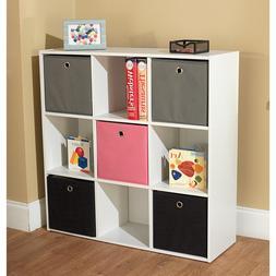 "White Bookcase with Five Fabric Bins - 29.5""h x 35.5""w x 10."