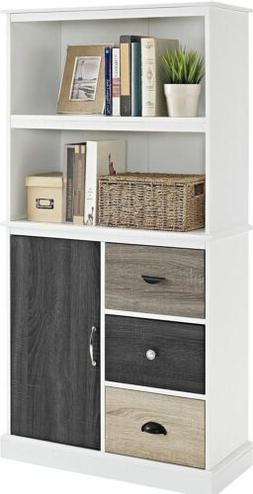White Wooden Bookcase Bookshelf Shelves 3 Drawers Door Stora