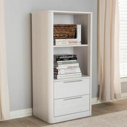 Whitewashed Finish Bookcase with 2 Open Shelves and 2 Drawer
