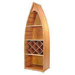 "Wine Rack Canoe Book Shelf 74"" Bookcase Cedar Wood Nautical"
