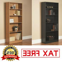WOOD BOOKCASE Adjustable 5 Shelf Bookshelf Storage Wide Book