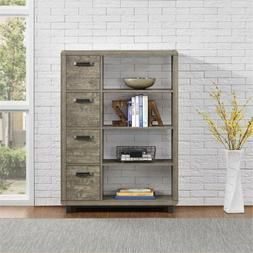 Wood Bookcase with Bins,Storage, Books, Dispaly Pictures, to
