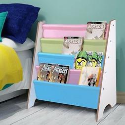 Wood Kids Sling Book Shelf Storage Rack Organizer Bookcase D