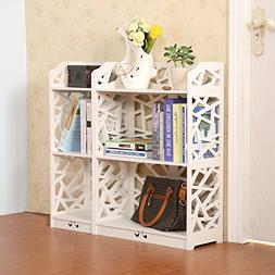 D-line Wood and Plastic Bookcase Bookshelf Storage Shelf, Wh