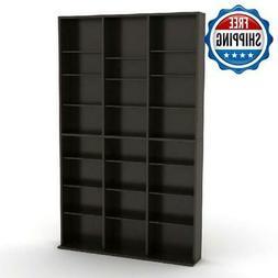 Wood Tower Media Storage Wall Bookcase CD DVD Blu Rays Open