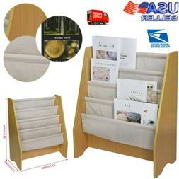 Wooden 4 Layer Fabric Sling Bookcase Toy Picture Book Storag