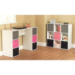 Writing Desk Bookcase Bins Set Kids Teen Girl Room Furniture