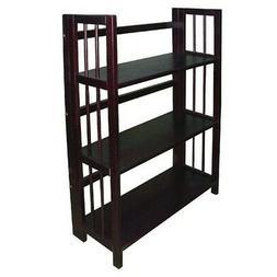 Yu Shan 3 Tier Folding Stackable Bookcase 27.5 Wide Espresso