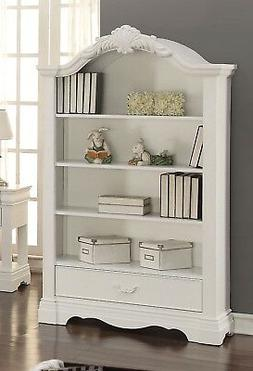 Yuna Kids Classic Youth Bookcase with Crown Accents in White